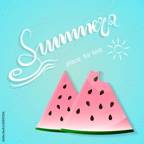 Poster Retro sign blue summer background with slices of watermelon. Vector