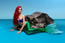 Mermaid With Red Hair Resting ...