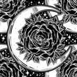 Rose inside a crescent moon ornate seamless pattern.