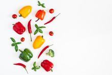 Vegetables On White Background...