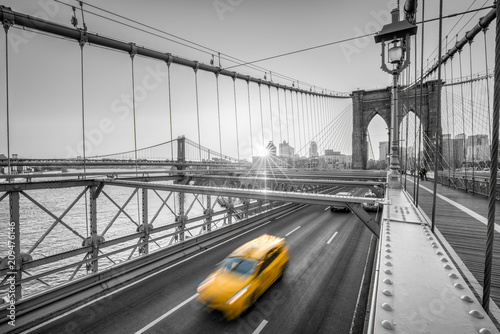 Staande foto New York City New York City Color Key mit Brooklyn Bridge, USA