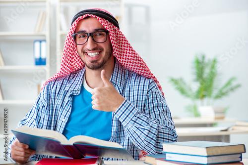 Arab student preparing for university exams Canvas Print