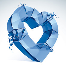 Breakup Concept Of Broken Heart, 3D Realistic Vector Illustration Of Heart Symbol Exploding To Pieces. Creative Idea Of Breaking Apart Love, Break Up.