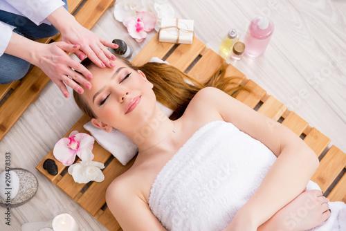 Foto op Plexiglas Spa Young woman during spa procedure in salon