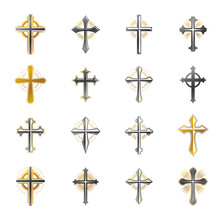 Crosses Of Christianity Religion Emblems Set. Heraldic Coat Of Arms Decorative Logos Isolated Vector Illustrations Collection.