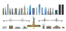 New York City Landmarks Set, Isolated