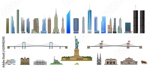 Fotografie, Obraz New York City landmarks set, isolated