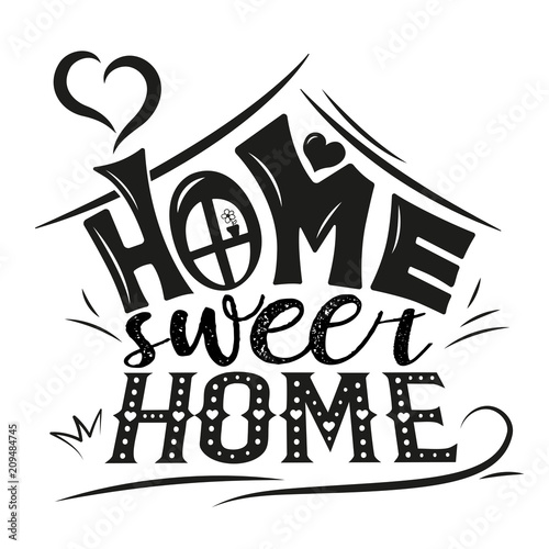 Vector Card With Cute Abstract House Handwriting Lettering