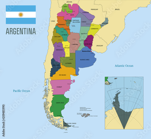 Political vector map of Argentina Canvas Print