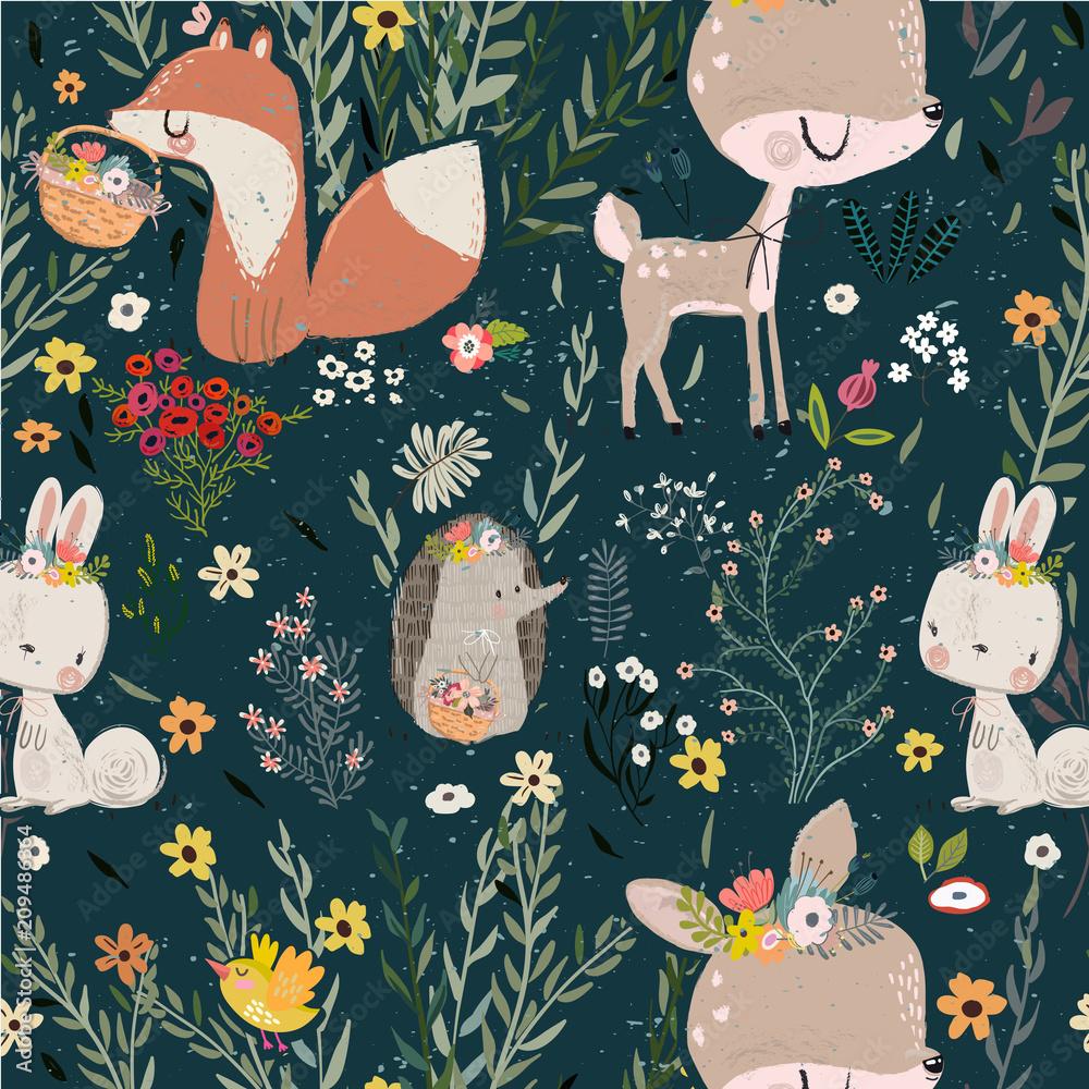Fototapeta seamless pattern with cute animals