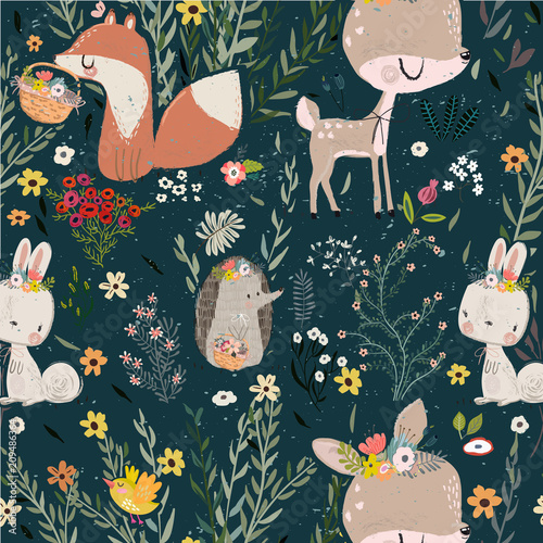 Obrazy dla dzieci seamless-pattern-with-cute-animals