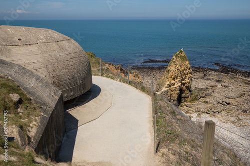 Poster  Pointe du Hoc beach as seen from the German bunkers,  Normandy, France