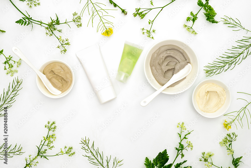 Fototapeta Natural cosmetics set with various kinds of cosmetic clays and herbs