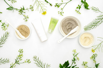 Natural cosmetics set with various kinds of cosmetic clays and herbs