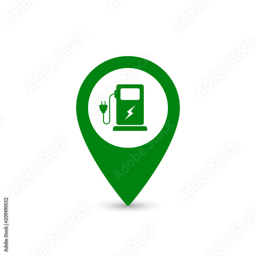 Leinwand Poster Electric car charge station map pointer, Vector isolated illustration