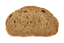 A Piece Of Bread Isolated On White Background, Close Up