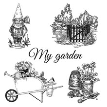 Vintage Garden Set. Figure Gnome, Wooden Gate, Pot With Flower And Cart. Sketch. Engraving Style. Vector Illustration.