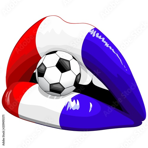 In de dag Draw France Flag Lipstick Soccer Supporters