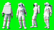 canvas print picture - Astronaut stay idle . Green screen. 3d rendering.