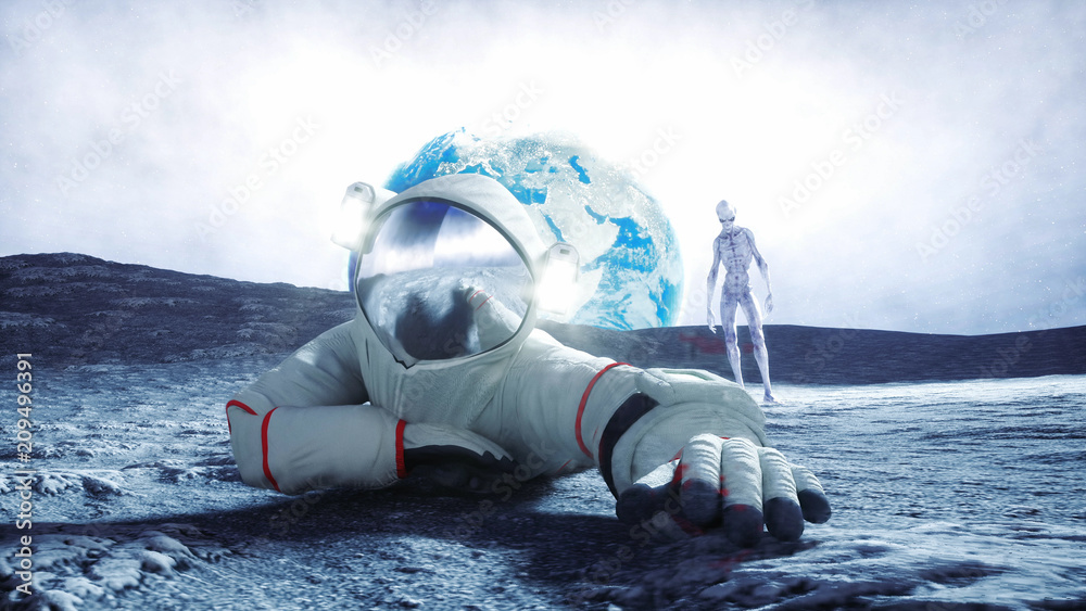 Fototapety, obrazy: Astronaut on the moon with alien. 3d rendering.