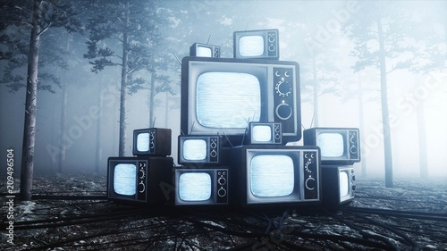 Photo  Old antique TV in fog night forest