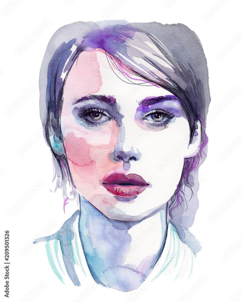 Watercolour portrait of beautiful woman