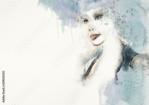 Blue.Watercolor abstract portrait of woman. Fashion background