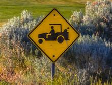 Golf Cart Crossing Sign Seen N...