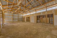 Interior Of Empty Barn Wooden Beams