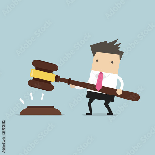 Businessman hold a big gavel in hands for justice. vector Canvas Print