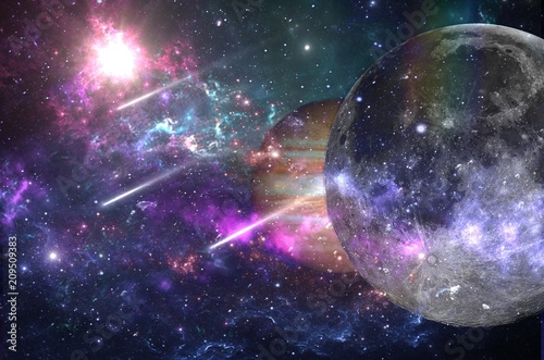 Univers Planets and galaxies, science fiction wallpaper. Beauty of deep space. Billions of galaxies in the universe Cosmic art background