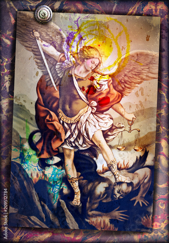 Saint Michael the Archangel, sacred image of ancient art, devotional people Wallpaper Mural