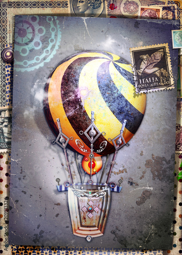 Poster Imagination Steampunk hot air balloon on old fashioned background and antique postage stamps