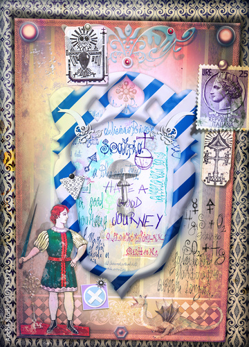 Deurstickers Imagination Wonderland. Magic mushroom on frame, Alice and through the looking-glass