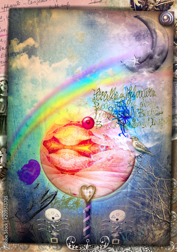 Poster Imagination Witched forest. Magic mushroom in the blue forest with rainbow and moon