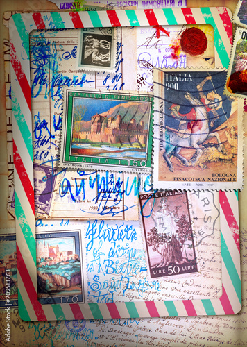 Poster Imagination Air mail. Old fashioned postcard with sketches and vintage stamps