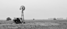 Landscape Of Water Pump Windmill On Cattle Farm Western Cape South Africa
