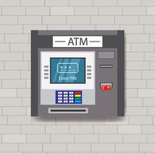 ATM Machine On A Brick Wall