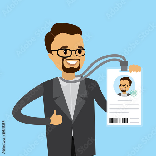 Photo Happy caucasian businessman with badge or id card,