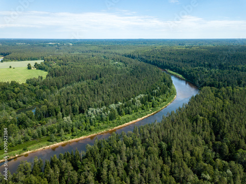 Fotobehang Wit drone image. aerial view of snake river in deep green forests