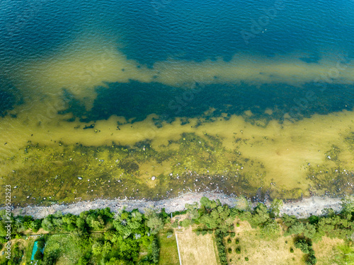 In de dag Groen blauw drone image. aerial view of Baltic sea shore with rocks and forest on land