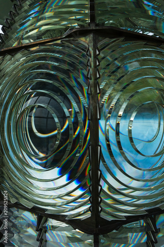 Close up view of the Fresnel lens inside the Cape Blanco Lighthouse on the Orego Tapéta, Fotótapéta