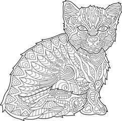 Adult coloring book page with cat on white background