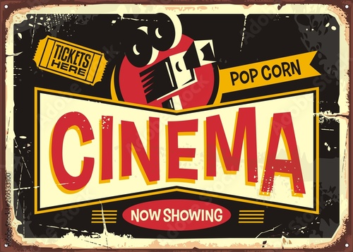 cinema retro tin sign vector design template  vintage