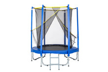 Trampoline For Children And Adults For Fun Indoor Or Outdoor Fitness Jumping On White Background. Blue Trampoline Isolated With Safety Net With Zipper Entrance