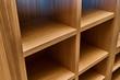 Leinwandbild Motiv Joinery. Oak veneered mdf wardrobe in workshop. Wooden furniture. Details wood production