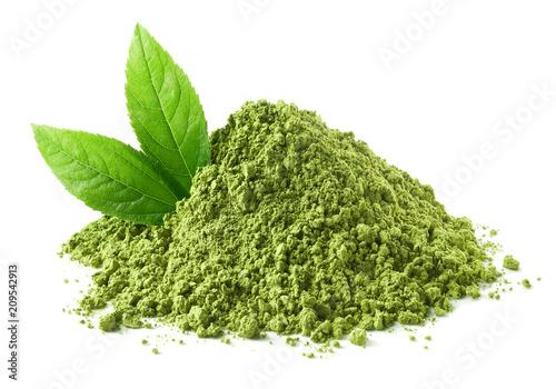 Fototapeta Heap of green matcha tea powder and leaves obraz