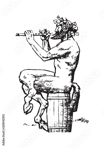 Satyr sitting on the barrel and playing the flute Canvas Print