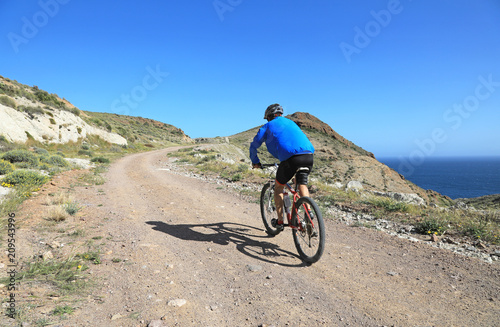 ciclista en bicicleta por el monte costa almería 4M0A1339-f18 Wallpaper Mural