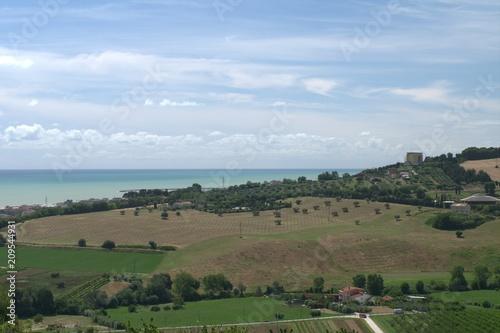 Fotobehang Blauwe hemel Italy,Adriatic sea,landscape,hills,horizon,sea,sky,cloud,field,view,panorama
